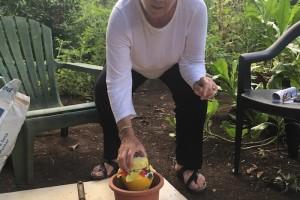 3. Rachel putting peace vase into cement